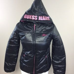NWT Guess Blk/Pink Shiny Puffer XL (16)